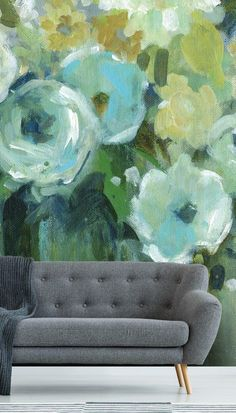 Watercolour wall mural as a stunning feature wall in the living room. Beautiful Fresh Cut Emeralds wall mural from Wallsauce. Toile Wallpaper, Colorful Wallpaper, Mural Painting, House Painting, Home Decor Inspiration, Painting Inspiration, Watercolor Walls, Beautiful Wall, Free Uk