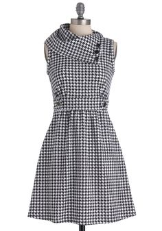 Coach Tour Dress in Houndstooth - Mid-length, White, Houndstooth, Buttons, Work, A-line, Sleeveless, Black, Pockets, Casual, Scholastic/Collegiate, Best Seller, Cowl, Variation, Top Rated