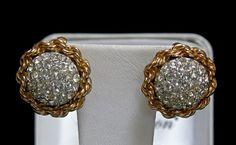Vintage BOUCHER 6636 Gold Plated Brilliant Pave Diamante Rhinestone Earrings #BOUCHER6636 #DomedTwistedRopePaveSetRhinestones