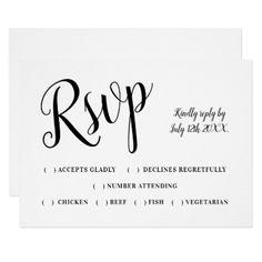 Modern wedding rsvp typography black white card - wedding invitations cards custom invitation card design marriage party