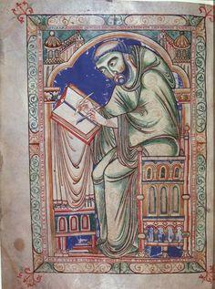 Eadwine Psalter, Canterbury 1155-1170 the scribe Eadwine hard at work