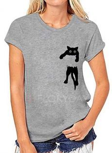 Animal Round Neck Short Sleeve Casual T-shirts - Gray XXL Source by floryday Sexy T Shirt, T Shirt Diy, Casual T Shirts, Casual Tops, Dressy Tops, Blouse Ample, T Shirts For Women, Clothes For Women, Short Sleeve Blouse