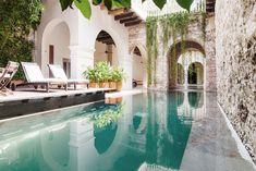 cartagena home / hacienda like / pool / courtyard Living Pool, Outdoor Living, Brick Archway, Moderne Pools, Vacation Villas, Vacation Rentals, Greece Vacation, Greece Travel, Kyoto Japan