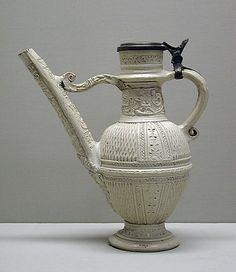 Ewer (Schnabelkanne), German; glazed stoneware, circa 1595