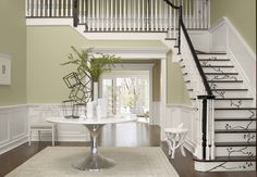 beautiful stair risers and love the color - sherwin williams gray mirage