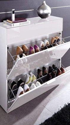 Shoe Storage Modern, Shoe Storage Design, Shoe Cabinet Design, Shoe Storage Solutions, Closet Shoe Storage, Diy Shoe Rack, Shoe Storage Cabinet, Rack Design, Smart Storage