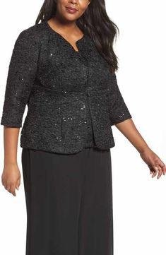 30bbb3db2e23e Alex Evenings Sequin Jacket   Camisole Twinset (Plus Size) Alex Evenings