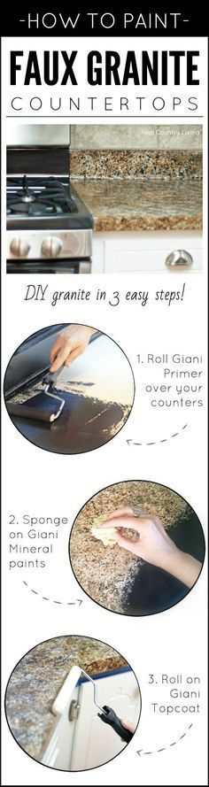 Dreaming of granite, but it isn't in the budget? Paint your own! Transform any countertop, desktop, or vanity into a custom faux granite finish using Giani™ stone paints for countertops. {Review & How-To} by 'Real Country Living': http://www.realcountryliving.com/country-living-room/amazing-painted-countertops-look-like-granite-part-1/