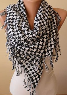 Black and White Scarf  Thick Cotton Fabric  by SwedishShop on Etsy, $17.90