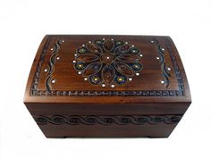 Art Deco Flower Motif Handmade Wood Jewelry Box With Lock And Key Keepsake…