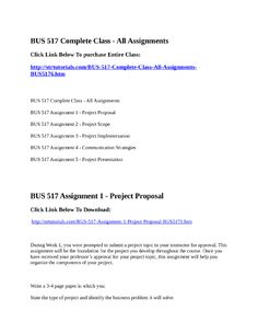 Bus  Week  Assignment   Project Proposal