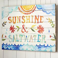 "PB Teen Katie Daisy ""Sunshine + Salt Water"" Watercolor Surf Art at... ($129) ❤ liked on Polyvore featuring home, home decor, wall art, multi, pbteen, wood wall art, wood plaque, wooden wall art and surf home decor"