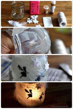 Anleitung Fee im Glas, ein wunderschönes Windlicht zum selbermachen und basteln