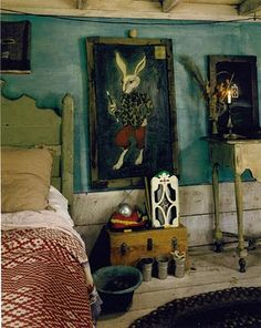 La Maison Boheme: Whimsical Bedrooms. Links to a pic of room with huge scale pattern on ceiling. Love.