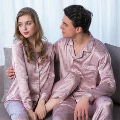 Women Men 3 Colors Floral Silk Satin Pajamas Sets Sleepwear Loungewear  Nightwear 53873ed5f