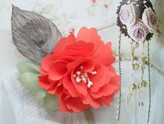 Wedding Hair Piece. Coral Chiffon Flower with Mint and by Shoimade