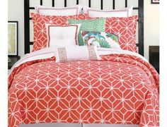 New-Trina-Turk-Residential-Trellis-Coral-Duvet-Cover-Queen-Size-92-x96-Cotton
