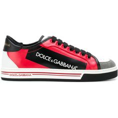 Dolce & Gabbana block panel lace-up sneakers (34.310 RUB) ❤ liked on Polyvore featuring men's fashion, men's shoes, men's sneakers, red, mens round toe shoes, mens perforated shoes, mens lace up shoes, mens red sneakers and mens red shoes