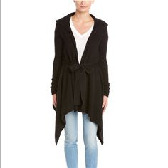 Free People Sloane Hooded Cardigan Gorgeous black sweater by Free People. Perfect to dress up or down and very cozy! Free People Sweaters Cardigans