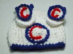 Chicago Cubs Hat and Flip Flops Cubs Logo  0-3 Ready to ship by FiveLittlePiggys, $20.00