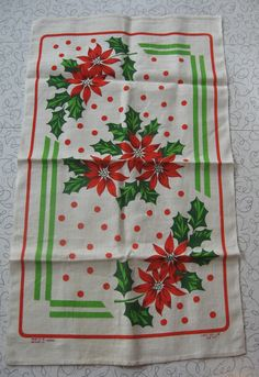 Christmas Poinsettia linen tea towel.