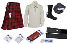 43627212835e Mens Scottish 9 Piece 8 Yards Kilt Outfit with Sporran