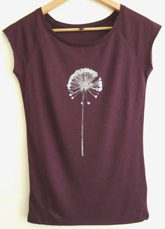 Allium plant seedhead bamboo viscose and organic cotton eggplant and silver printed raglan tunic eco T shirt
