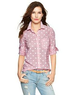 Fitted boyfriend dots & stripes shirt | Gap