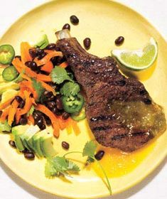 Caribbean Country-Style Ribs      Ingredients        2  tablespoons  fresh thyme leaves      1  tablespoon  ground coriander      1  tablespoon  ground allspice      kosher salt and black pepper      4  bone-in country-style ribs (about 2 pounds total; each 1 inch thick)      1  cup  pineapple preserves      1/4  cup  dark rum      1/4  cup  fresh lime juice, plus lime wedges for serving