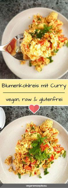 Mehr #Rohkost im Alltag! #Blumenkohlreis mit Curry ist ein toller Reisersatz. #vegan #raw #glutenfrei #curry