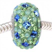 Swarovski Crystal, #81403 BeCharmed Pave Medley Bead 4.5mm Hole 14mm, 1 Piece, Lagoon Mix