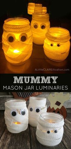Mummy Mason Jar Luminaries - Cutest and Easiest Halloween Crafts Ever