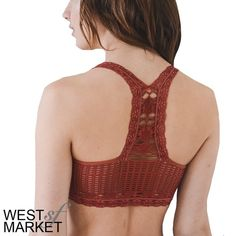 Lace Racerback Bralette Beautiful Racerback Bralette with a lace detail. Seamless. 92% Nylon, 8% Spandex. Color: Marsala. XS/S fits cup sizes 32B, 32C, 34A, 34B. M/L fits cup sizes 34C, 36A, 36B. L/XL fits sizes 36C, 38B, 40A, 40B. West Market SF Intimates & Sleepwear Bras