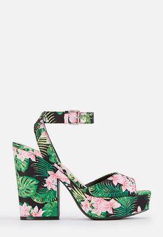 6f0ea43a0f1 Niki Platform Heeled Sandal in BLACK FLORAL - Get great deals at JustFab  Shoe Dazzle