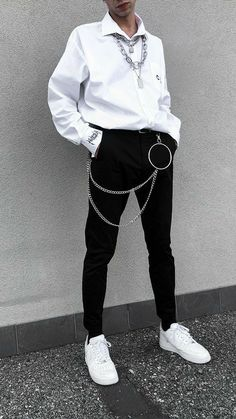Edgy Outfits, Retro Outfits, Grunge Outfits, Cool Outfits, Fashion Outfits, Male Outfits, Korean Fashion Men, Fashion Mode, Korean Street Fashion