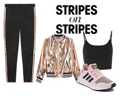 """""""Relaxed stripes"""" by ireneiraghc on Polyvore featuring Gucci, Sans Souci, Topshop, adidas, stripesonstripes and PatternChallenge"""