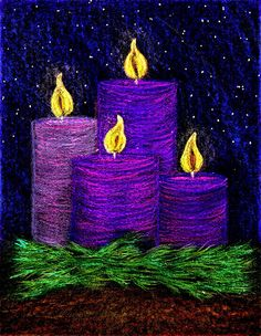 Advent art: Advent Candles by Stushie Christmas Art Projects, Winter Art Projects, Christmas Paintings, Winter Christmas, Christmas Crafts, Advent Art Projects, Christmas Tables, Nordic Christmas, Modern Christmas