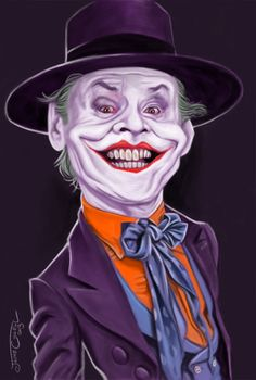 Caricature of The Joker played by Jack Nicholson in the movie Batman (1989) Painted using Photoshop, over a digital sketch, More...