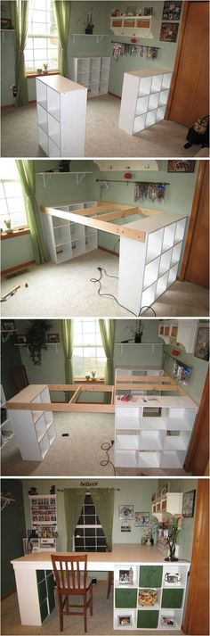 Creative Ideas - DIY Customized Craft Desk - I am always a fan of L-shaped layouts for desks and work spaces. (furniture hacks)