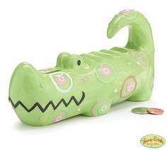 P New Alligator Piggy Coin Bank Green Pink Ceramic Zoobilee Baby Girl Gift