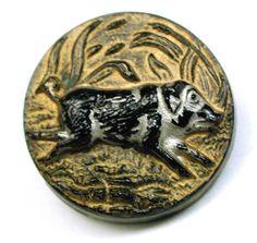Antique Black Glass Button Running Pig w Silver Gold Luster | eBay