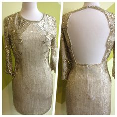 TOPSHOP Back cut-out sleeved gold and ivory sequin dress, Available in size XS-M $18