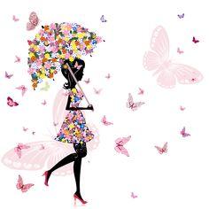 花の背景・壁紙イラスト-傘をさす女性・蝶