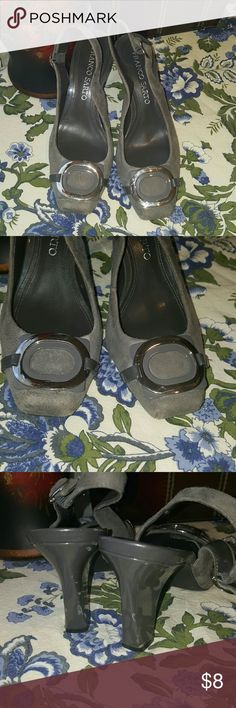 Frank Sarto Heels Leather Upper Rest is man made material Normal wear on them Some Skuffs on the heels (pic 3) Some stuffing on the suede part on the right shoe  (pic 4)  Slightly scratches on the silver part Franco Sarto Shoes