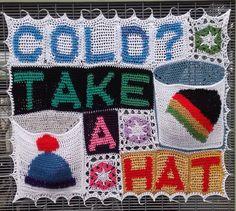 Brighton yarnbomber creates crochet hat dispenser to keep neighbourhood's heads warm