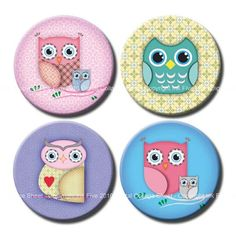 Cute Owls 1 inch bottle caps circles images and 1.313 by InkFive