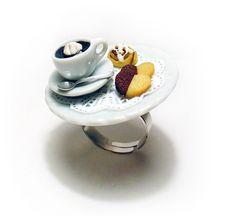 Coffee Cup Cookies and Cinnamon Bun Miniature Food Ring, Miniature Food Jewelry, Polymer Clay Food