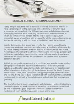 good med school personal statements As a pre-med student and med school applicant, you're bombarded with information from forums and university premed organizations about everything, from the types and amount of extracurricular activities you should pursue to strategies for acing the mcat to writing a great medical school personal statement.