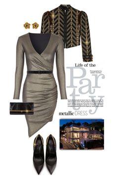 """Heavy Metal: Metallic Dresses"" by shortyluv718 ❤ liked on Polyvore featuring Gucci, Ann Demeulemeester, Khirma Eliazov, Oscar de la Renta and metallicdress"