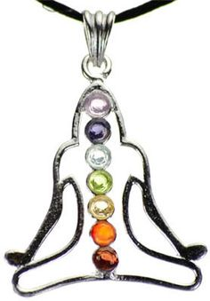 Buddha Goddess Pendant with 7 Chakra Gemstones, wiccan pagan jewelry necklace healing crystals quartz